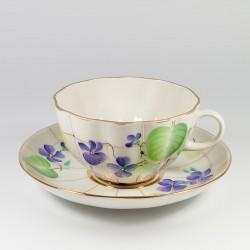 Чашка с блюдцем. Тюльпан. Лесная фиалка.