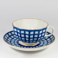 Csésze és alj. Tulipán. Kobalt kalitka.