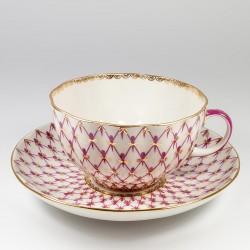 Чашка с блюдцем. Тюльпан. Сетка блюз.