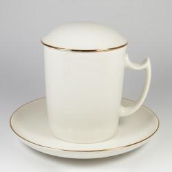 Mug&Saucer&Cap. White.Golden edging.