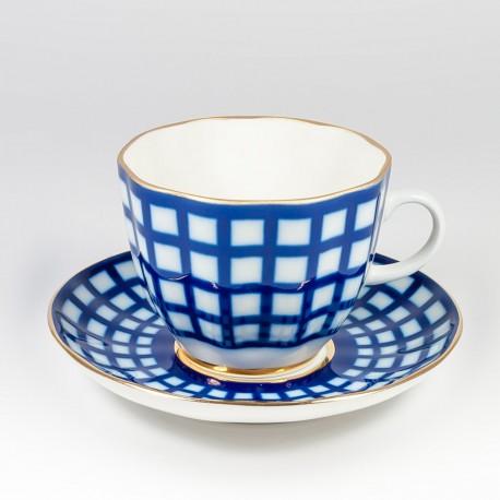 Csésze és alj. Tulipán kávé. Kobalt kalitka.