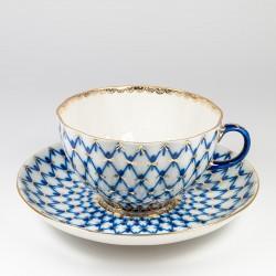 Csésze és alj. Tulipán. Kobalt háló.