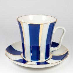 Mug&Saucer Leningrad. Cobalt stripes.