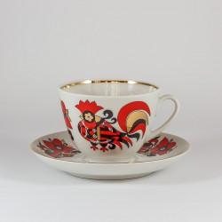 Чашка с блюдцем. Весенняя. Красный петушок.