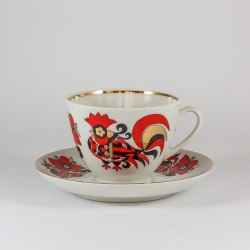 Cup&Saucer. Spring. Red cockerel.