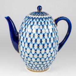 Pot del caffè. Tulipano. Reticolo Cobalto.