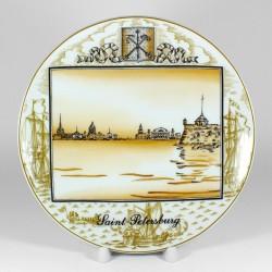 Dekoratív lemez. Város a Peter Great. Ø195 mm