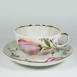 Чашка с блюдцем. Тюльпан. Розовые тюльпаны.