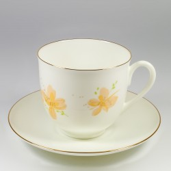 Cup&Saucer. Lily of the Valley. Yellow flowers.