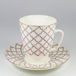 Чашка с блюдцем. Майская. Розовая сетка.