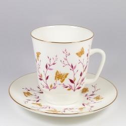 Чашка с блюдцем. Майская. Розовые веточки.